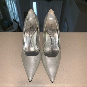 Rampage Maria Pointed Toe Silver Sparkle Heels